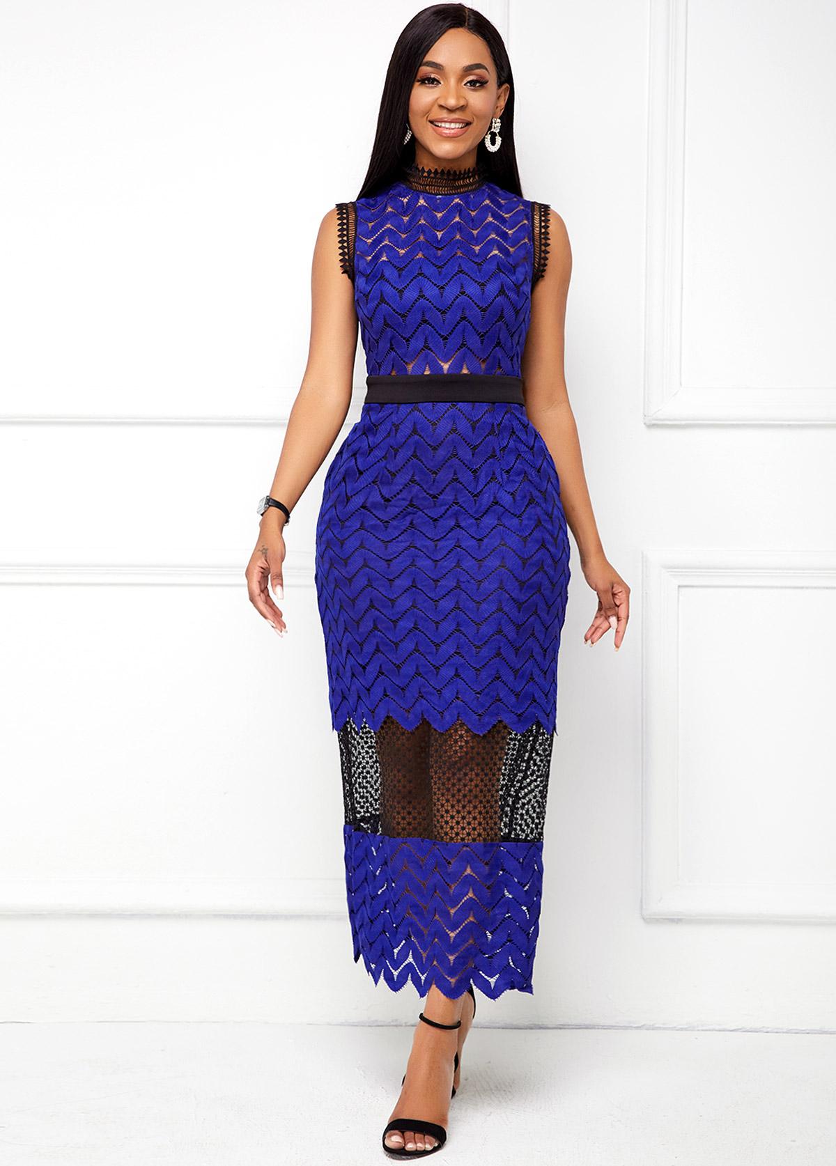 Lace Stitching Mock Neck Sleeveless Dress