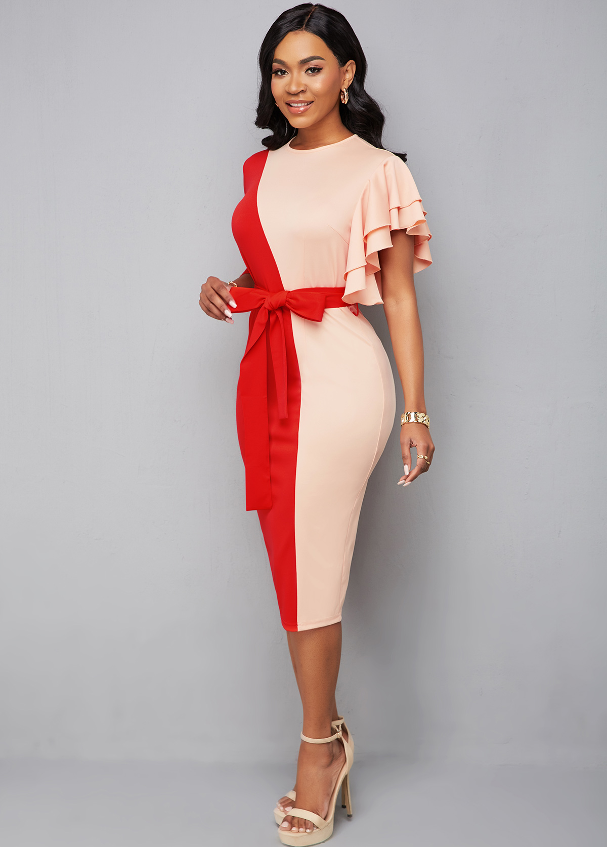 3/4 Sleeve Patchwork Belted Bodycon Dress