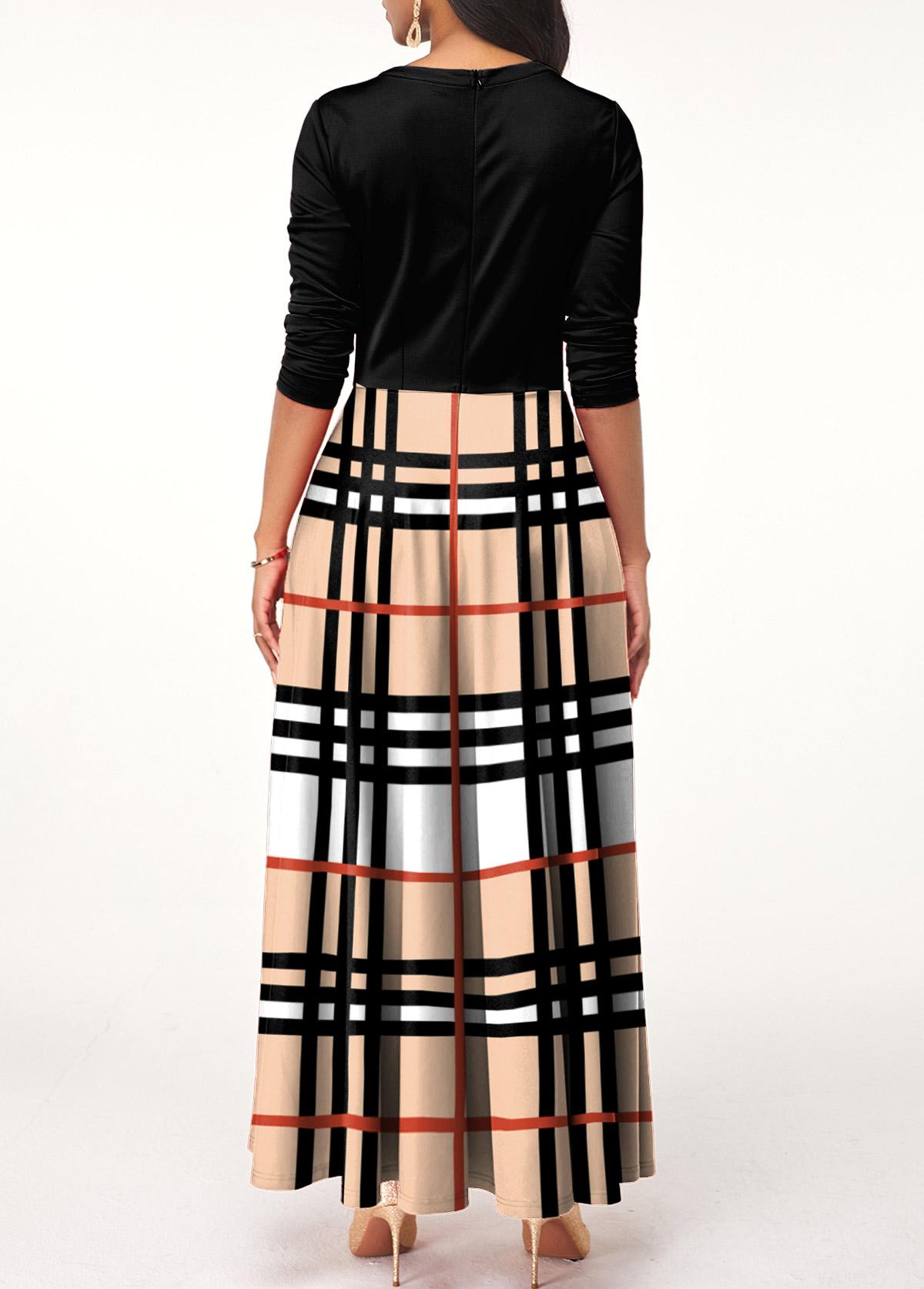 Long Sleeve Plaid Bowknot Maxi Dress