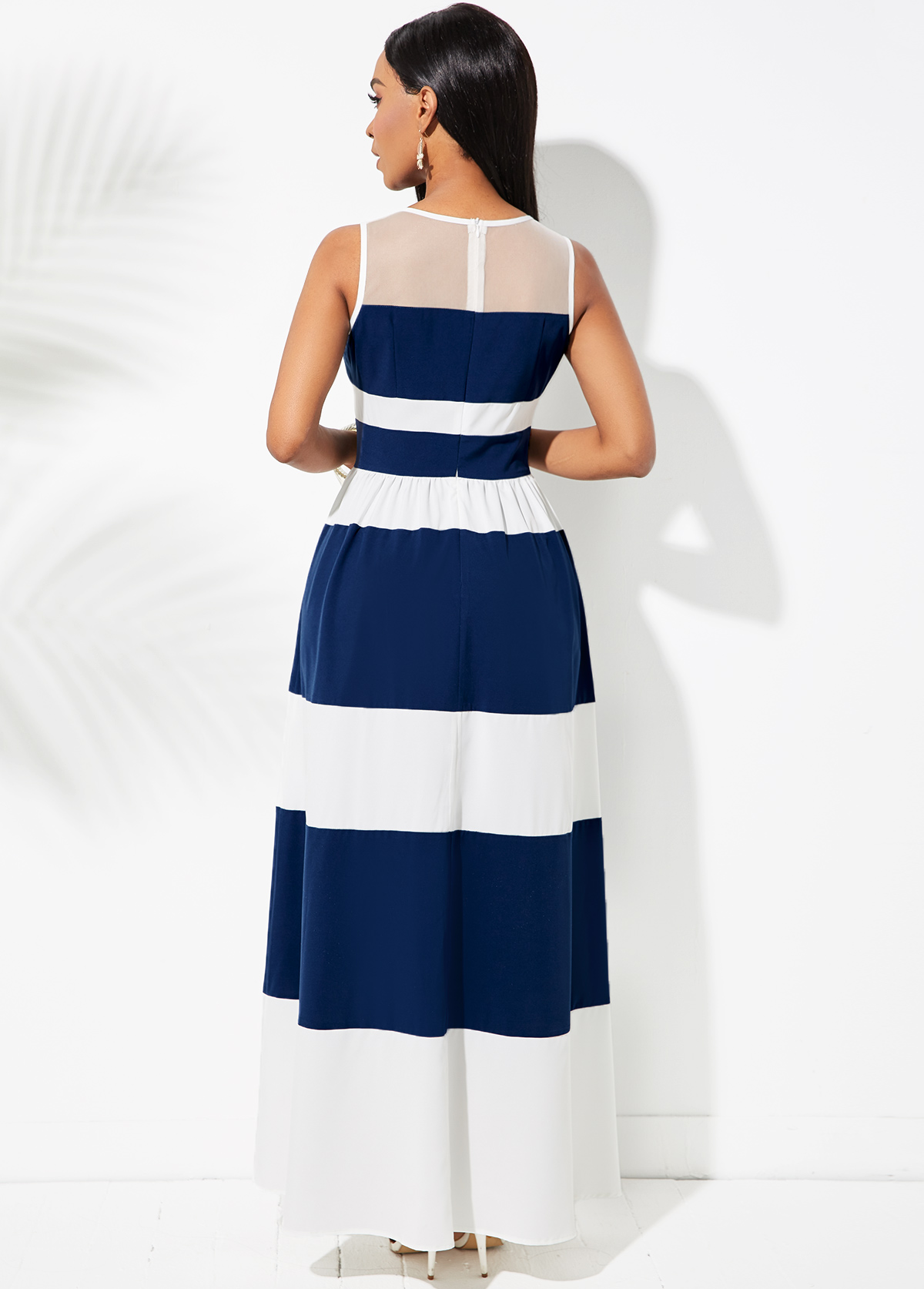 Striped Color Block Mesh Stitching Dress