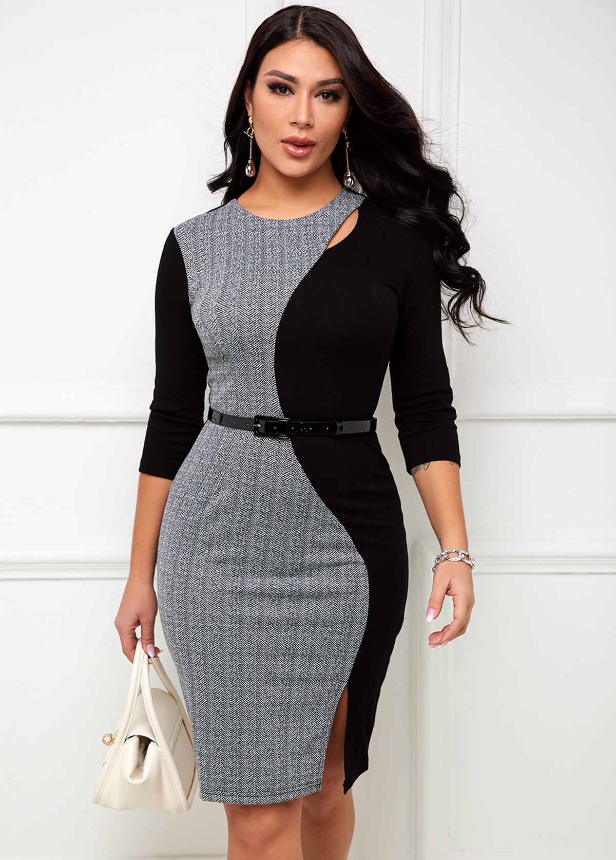 Round Neck Belted Contrast Bodycon Dress