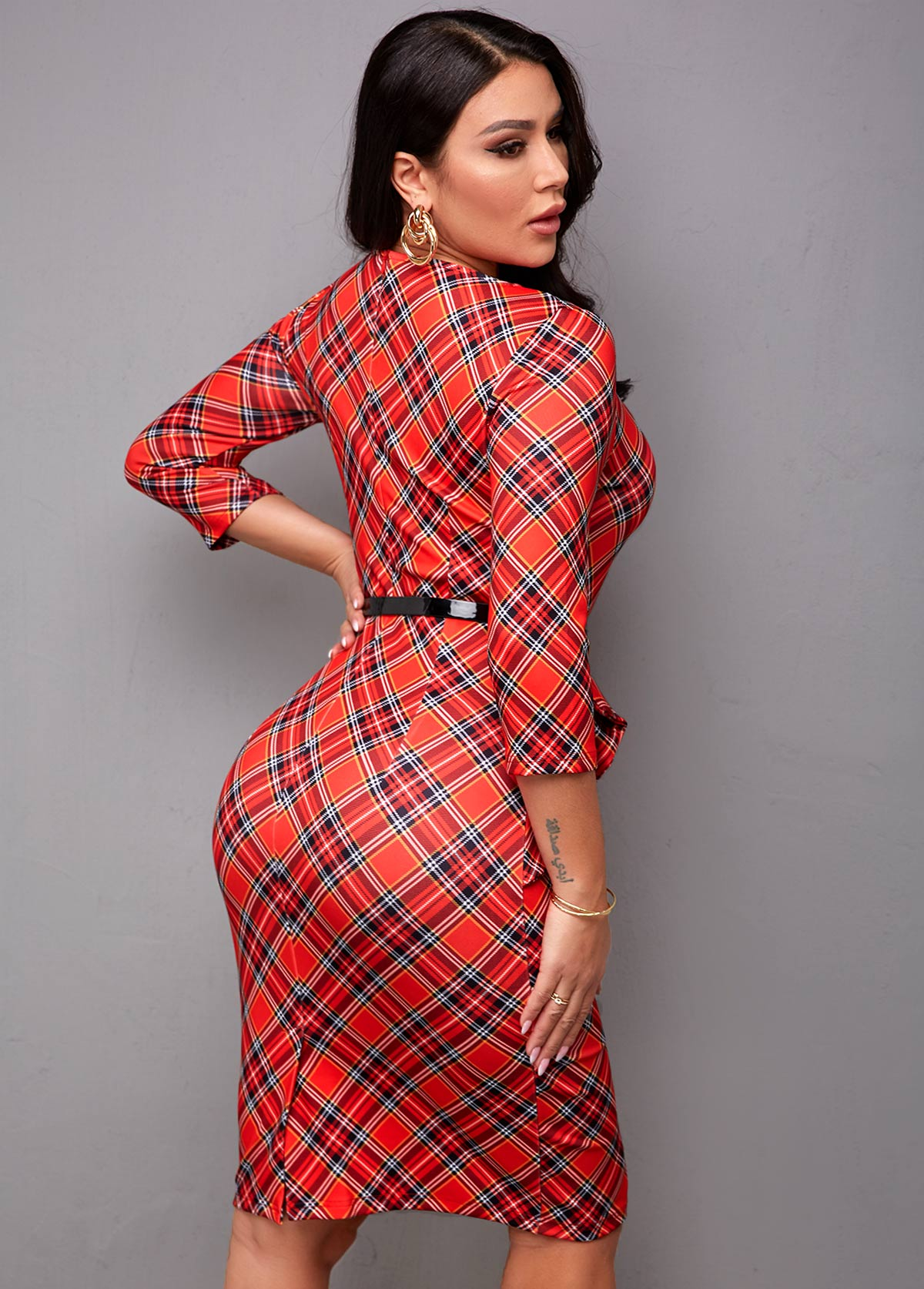 Belted Round Neck Plaid Bodycon Dress