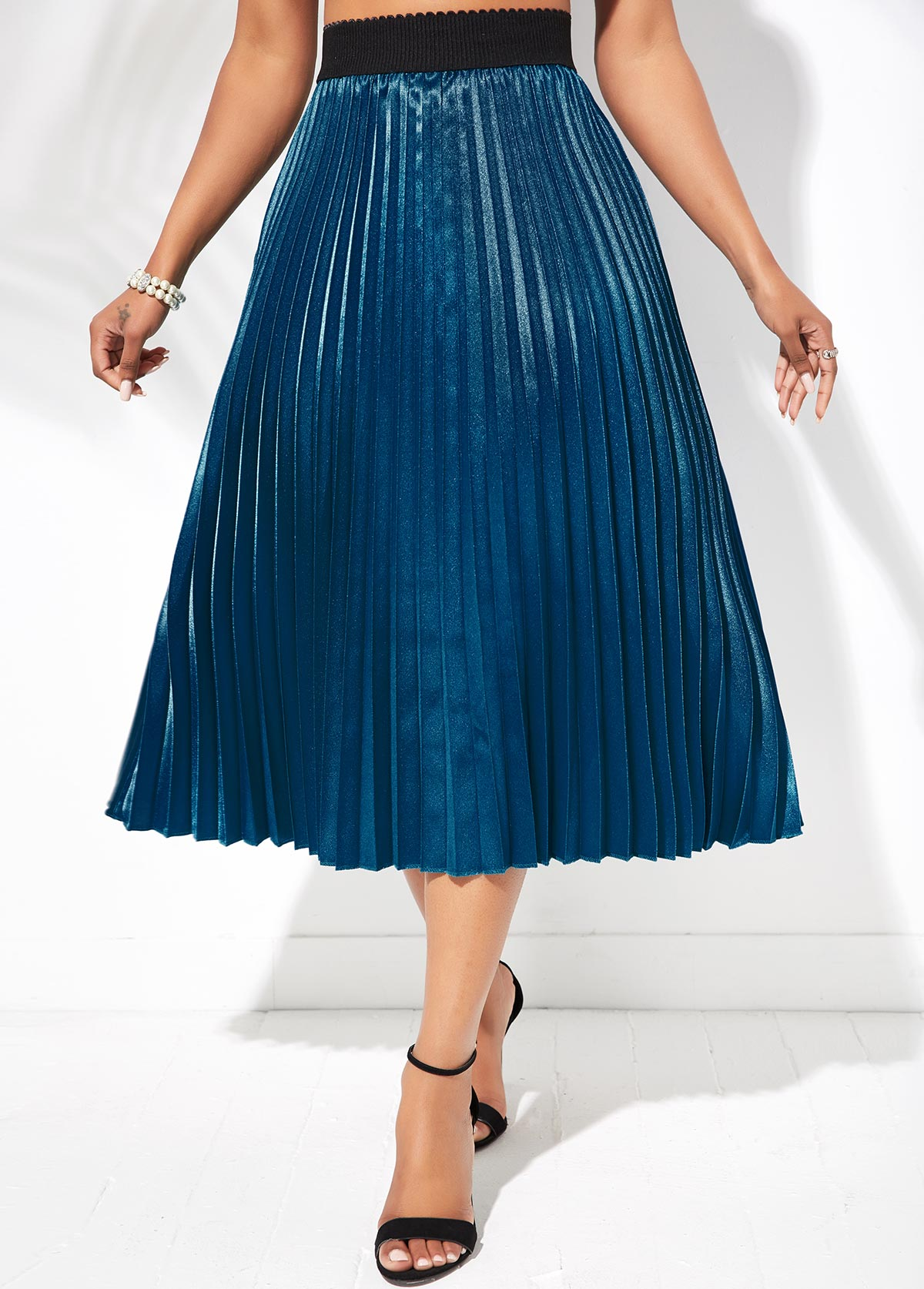 Peacock Blue Contrast Elastic Waist Pleated Hem Skirt