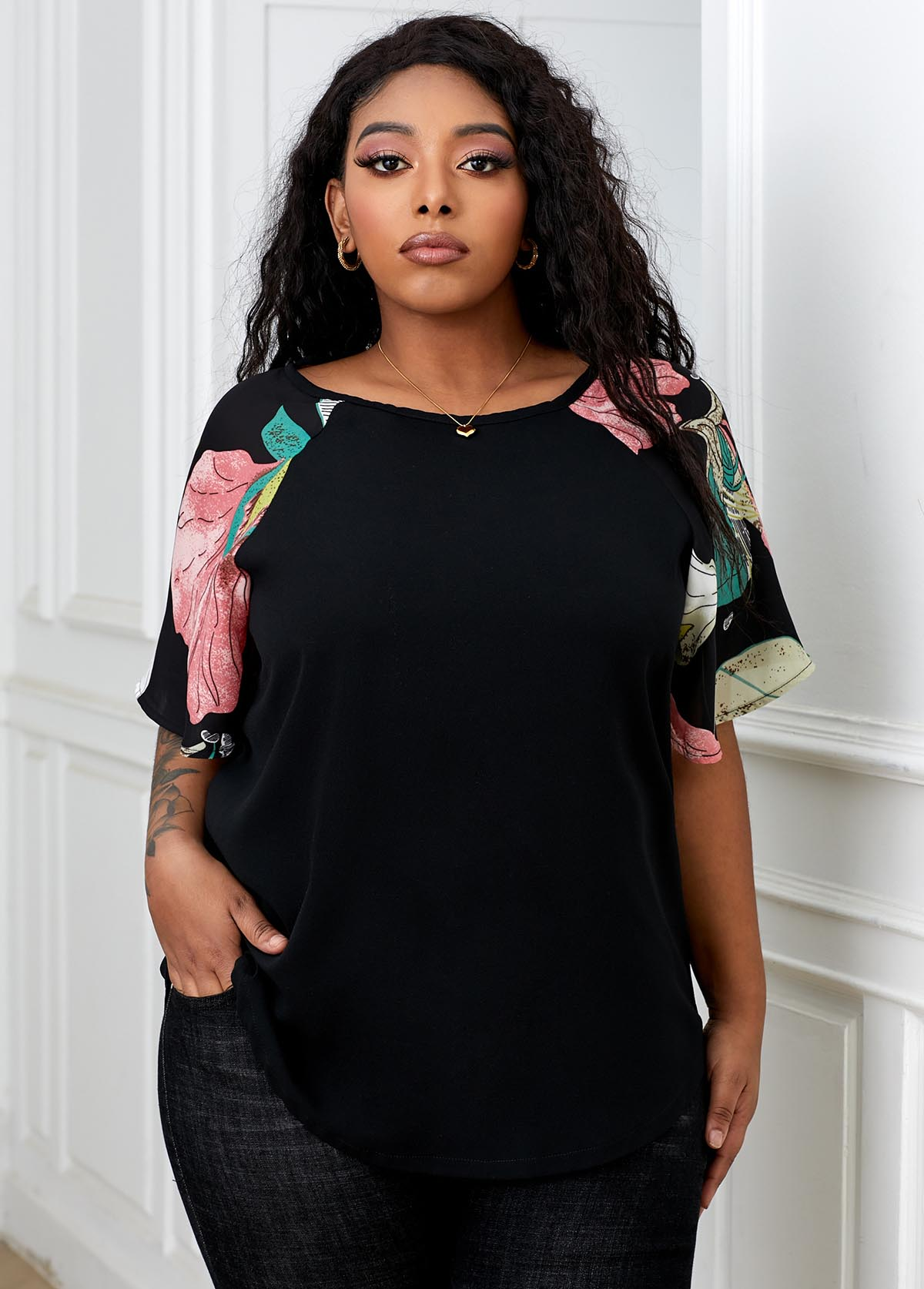 Printed Round Neck Plus Size T Shirt