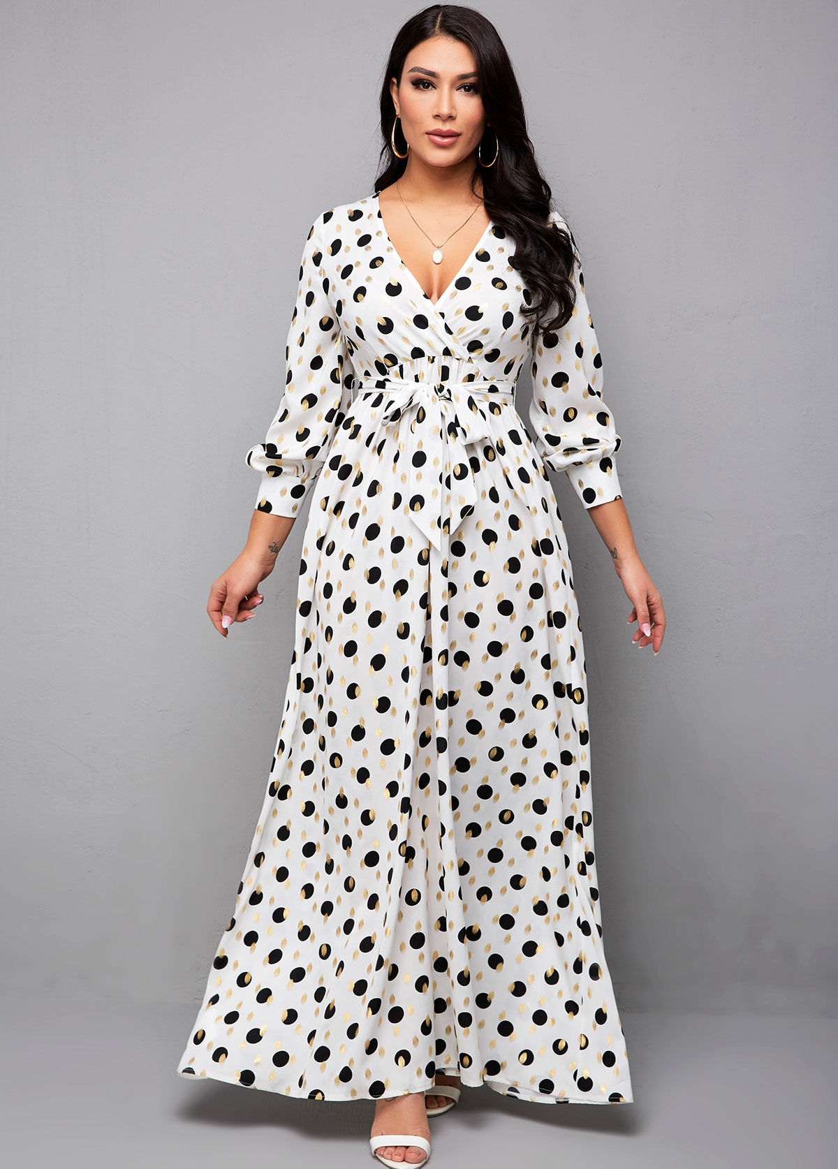 Hot Stamping Polka Dot Belted Dress