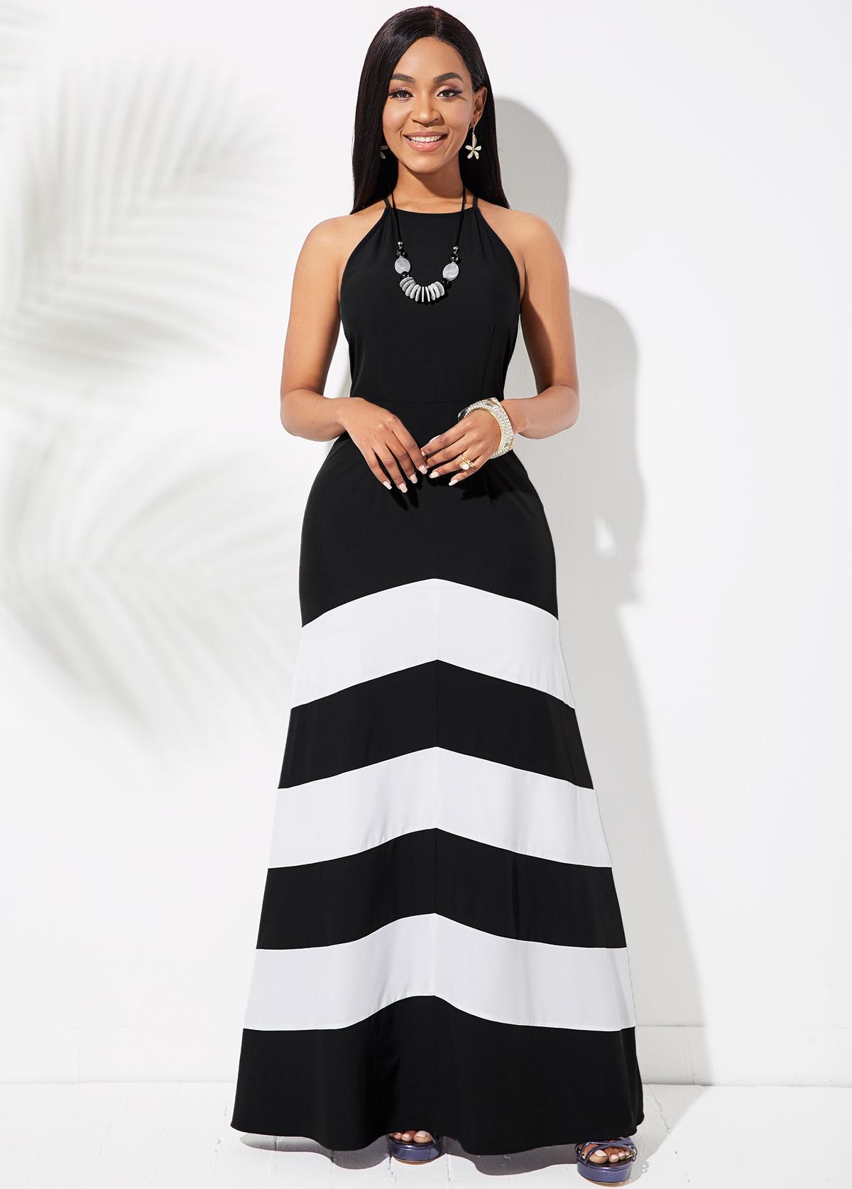 Sleeveless Striped Criss Cross Back Dress