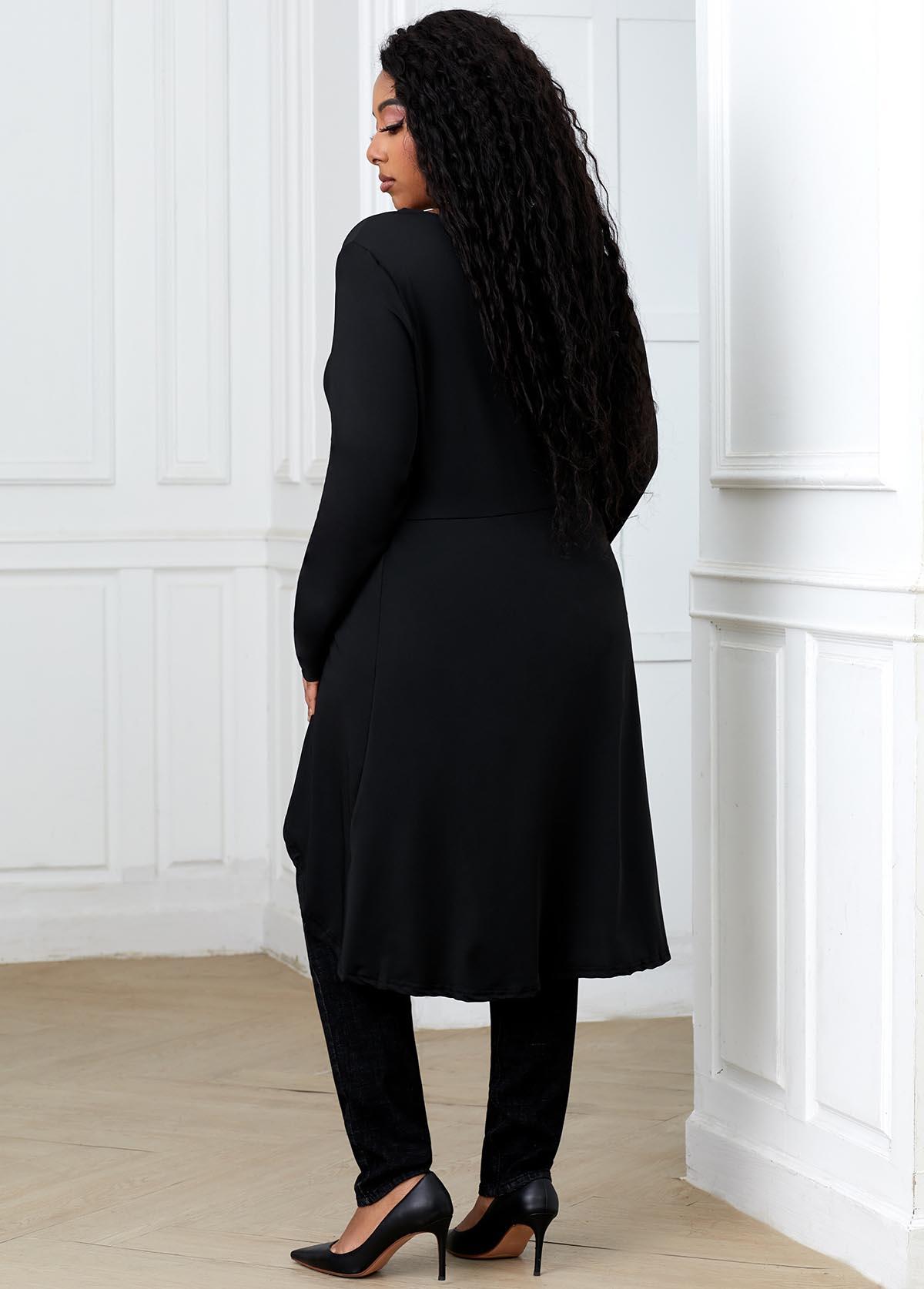 Asymmetric Hem V Neck Plus Size T Shirt