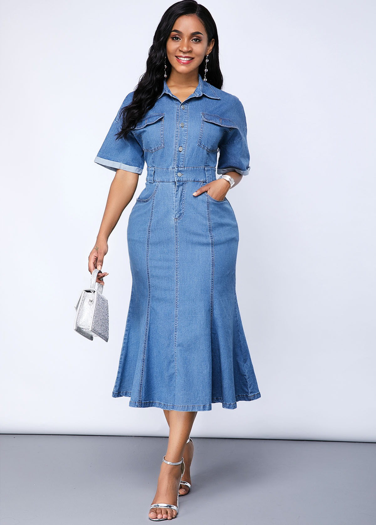 Denim Pocket Plus Size Mermaid Dress