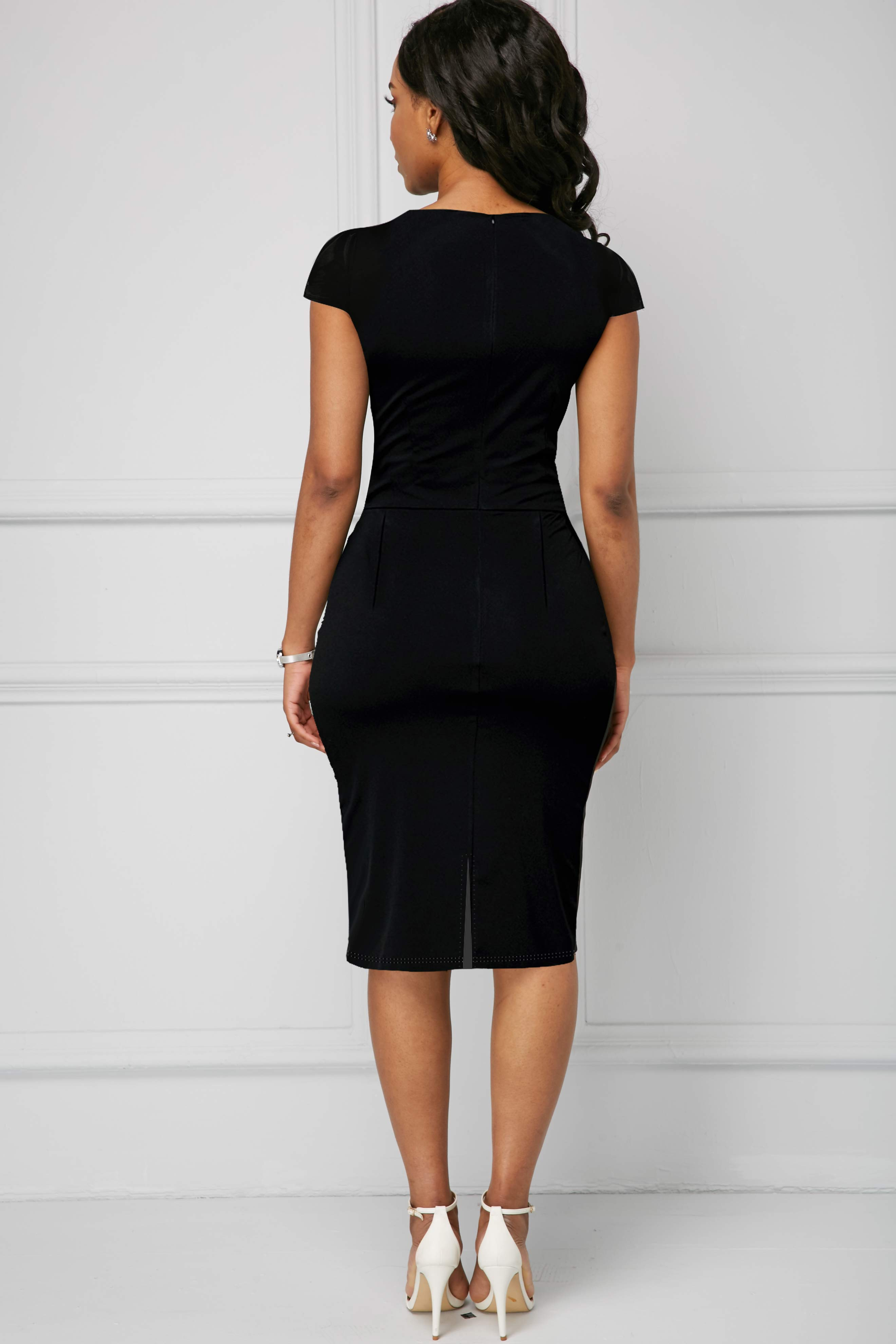 Plus Size Short Sleeve Contrast Piping Dress