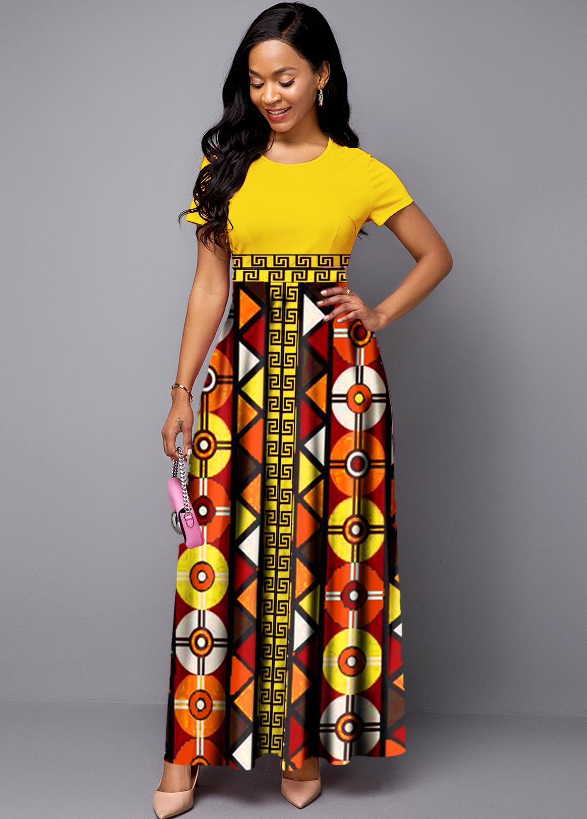 Short Sleeve Plus Size Tribal Print Dress