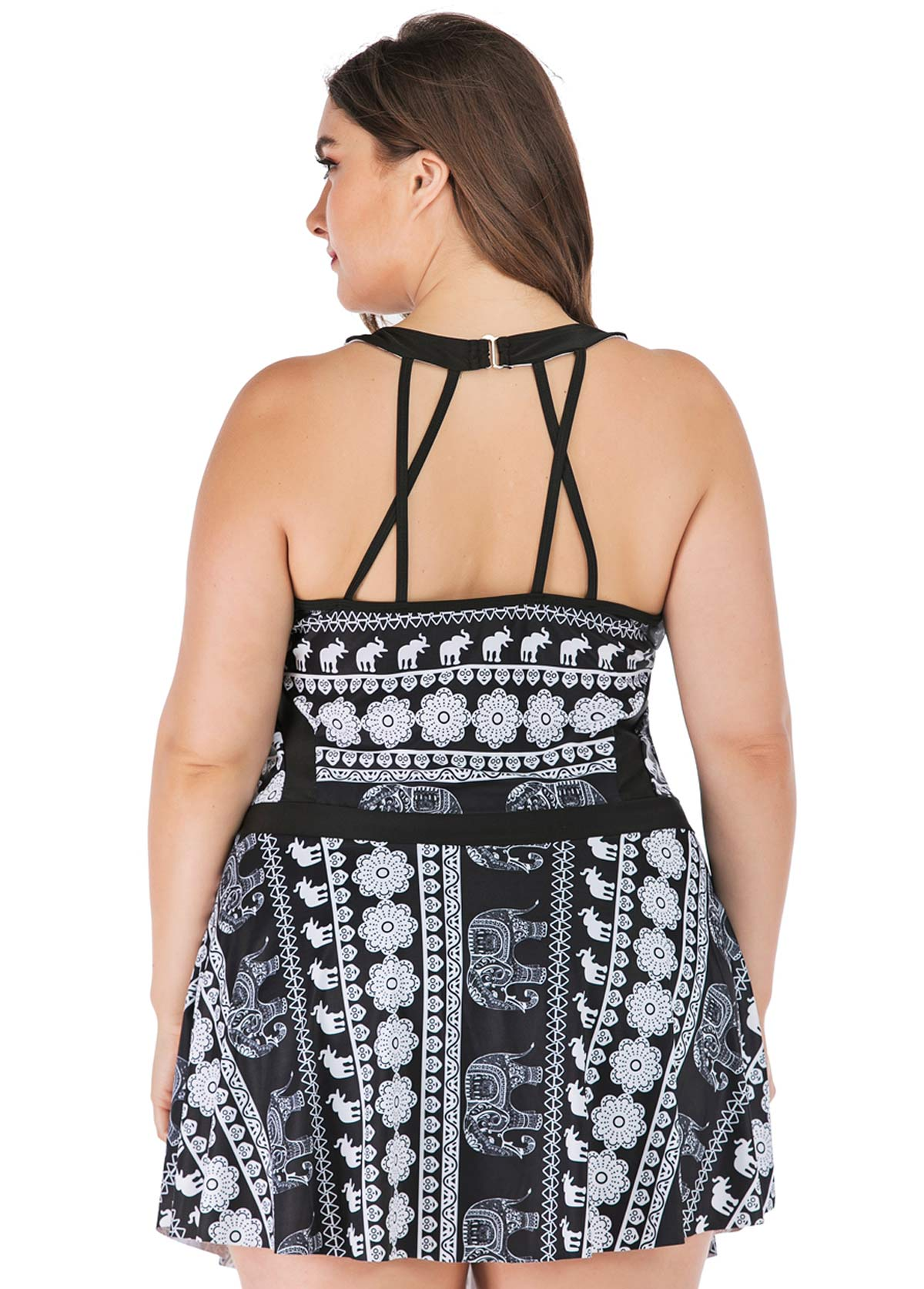 Cage Neck Tribal Print Plus Size Swimdress and Shorts