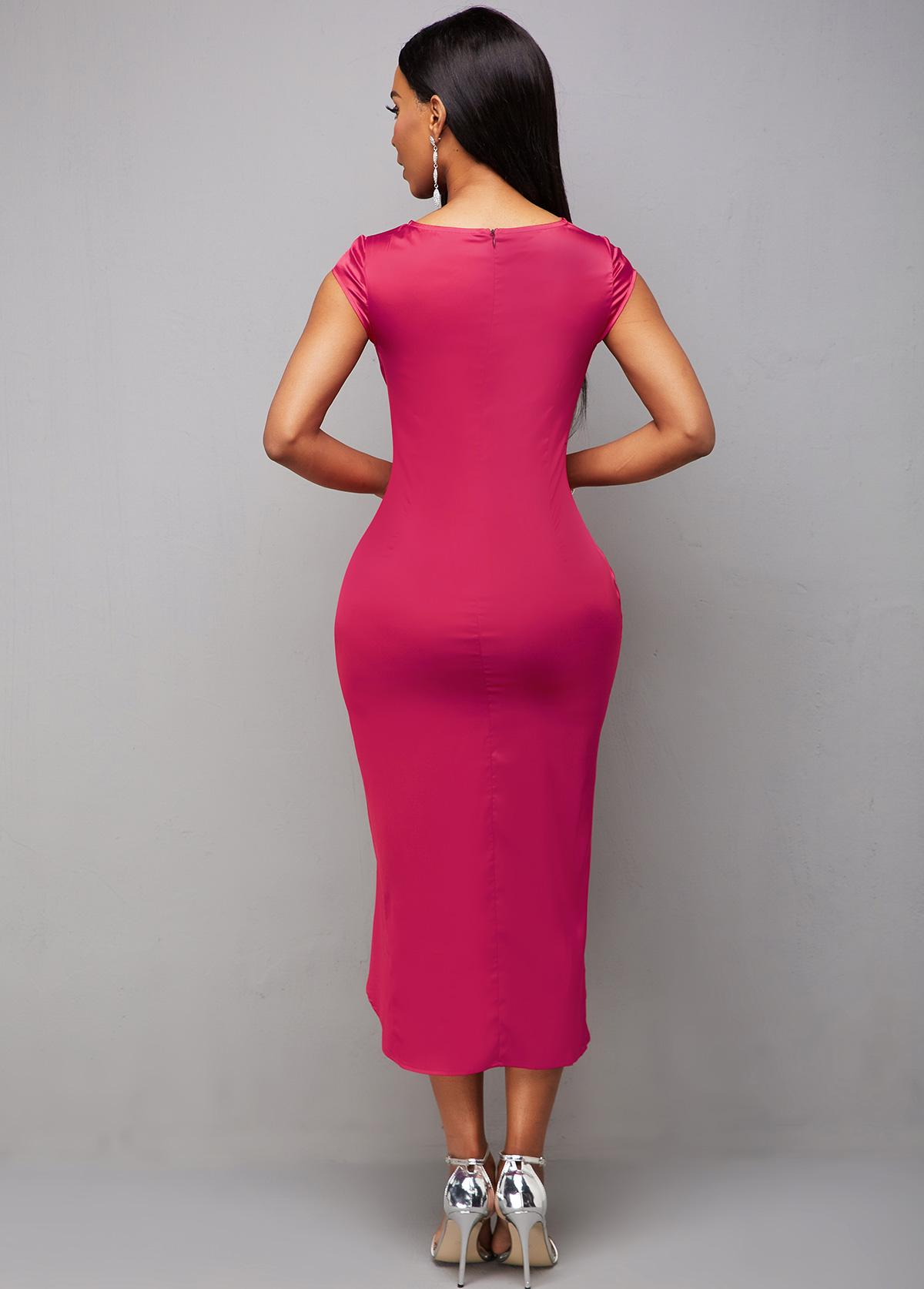Ruched Asymmetric Hem Cap Sleeve Bodycon Dress
