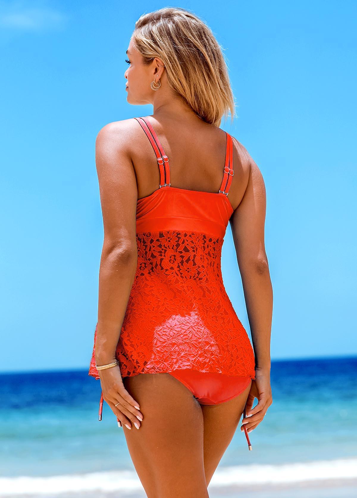 Knot Detail Lace Stitching Orange Tankini Set