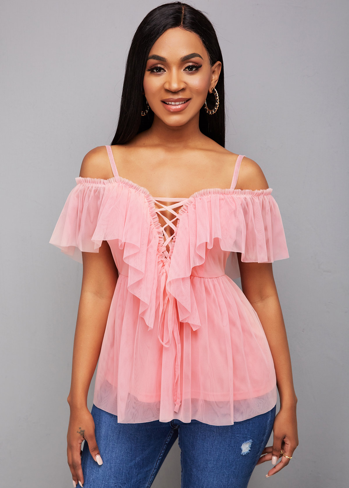 Strappy Cold Shoulder Lace Up Blouse