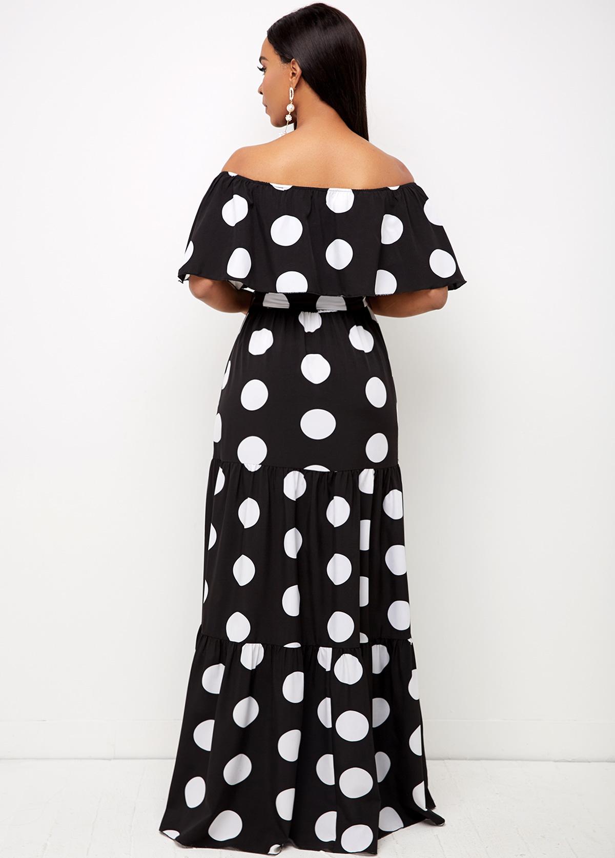 Off Shoulder Belted Polka Dot Dress