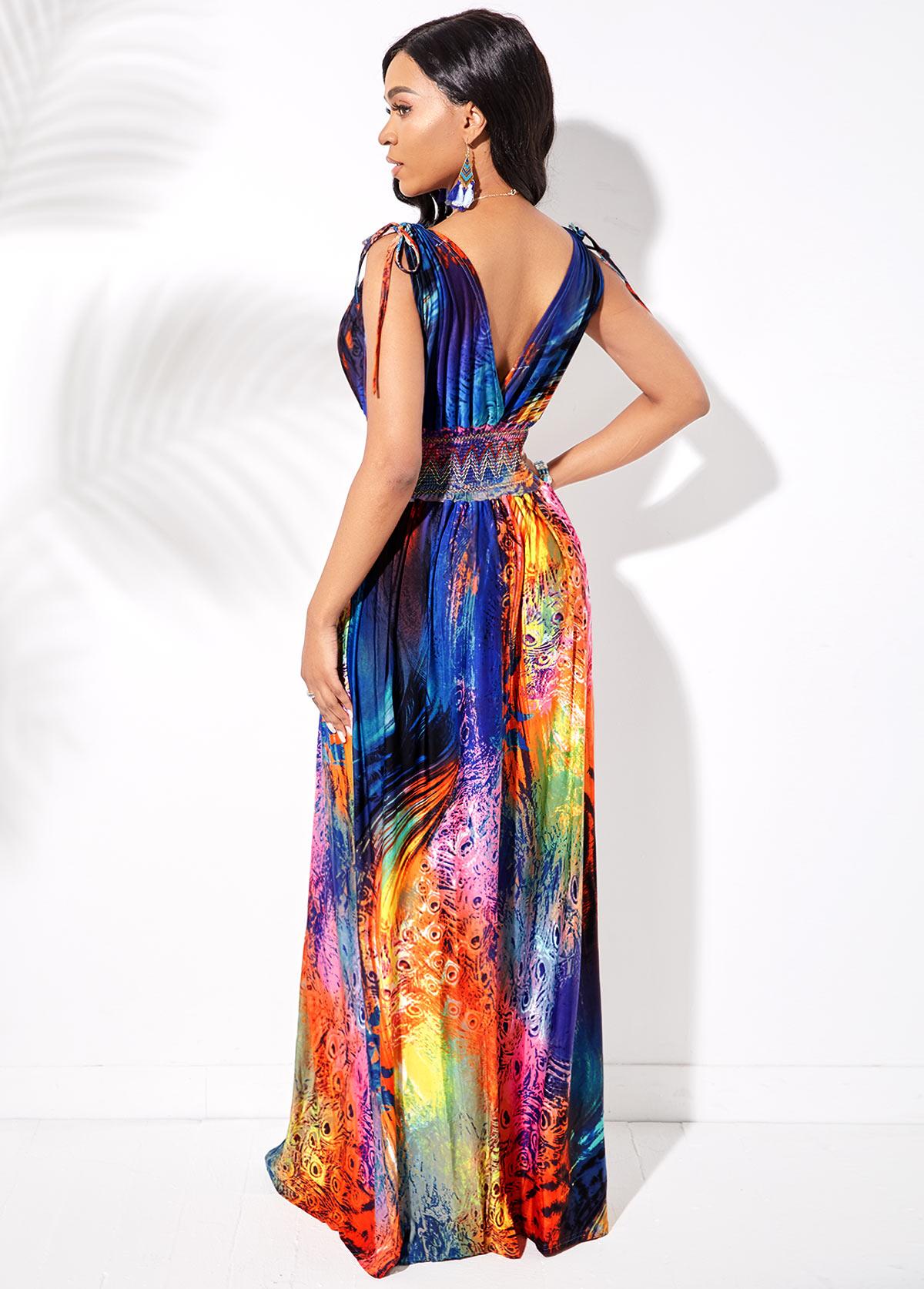 Plunging Neck Feather Print Drawstring Shoulder Dress