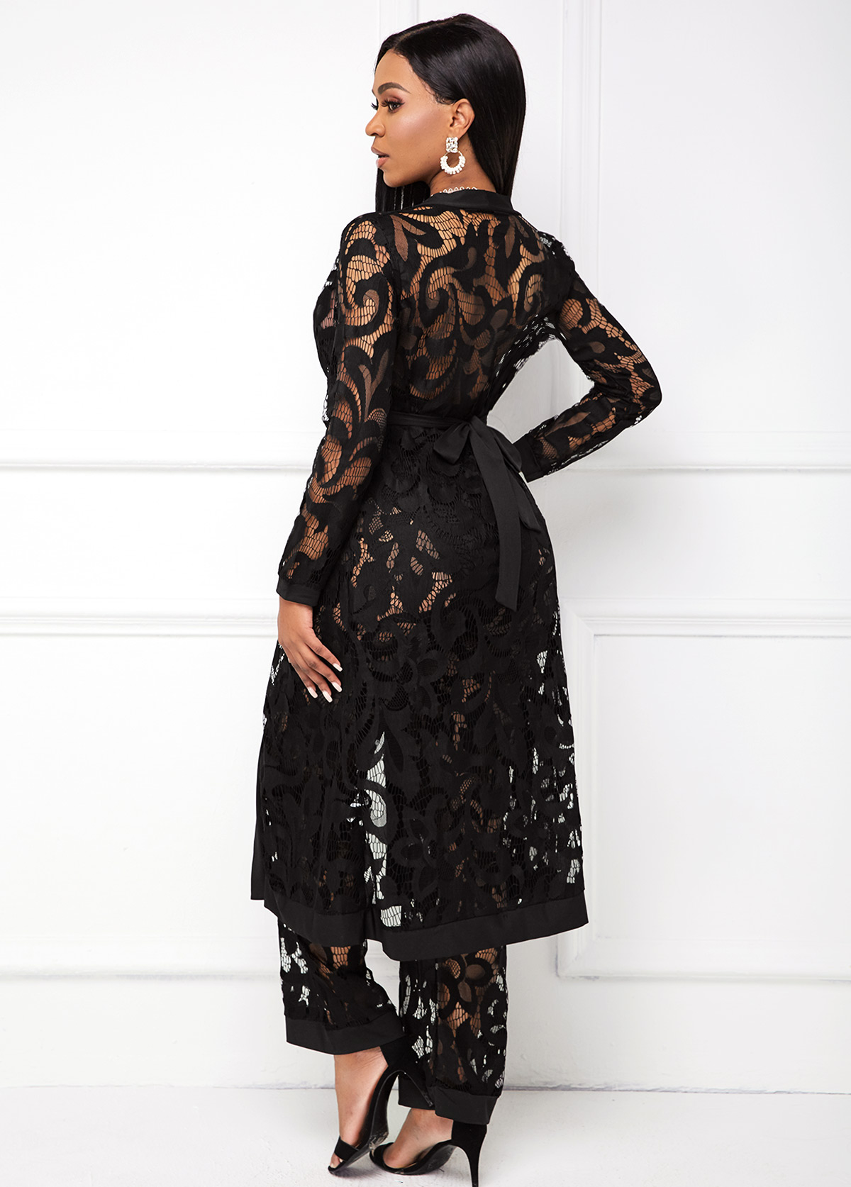 Belted Lace Black Three Piece Set