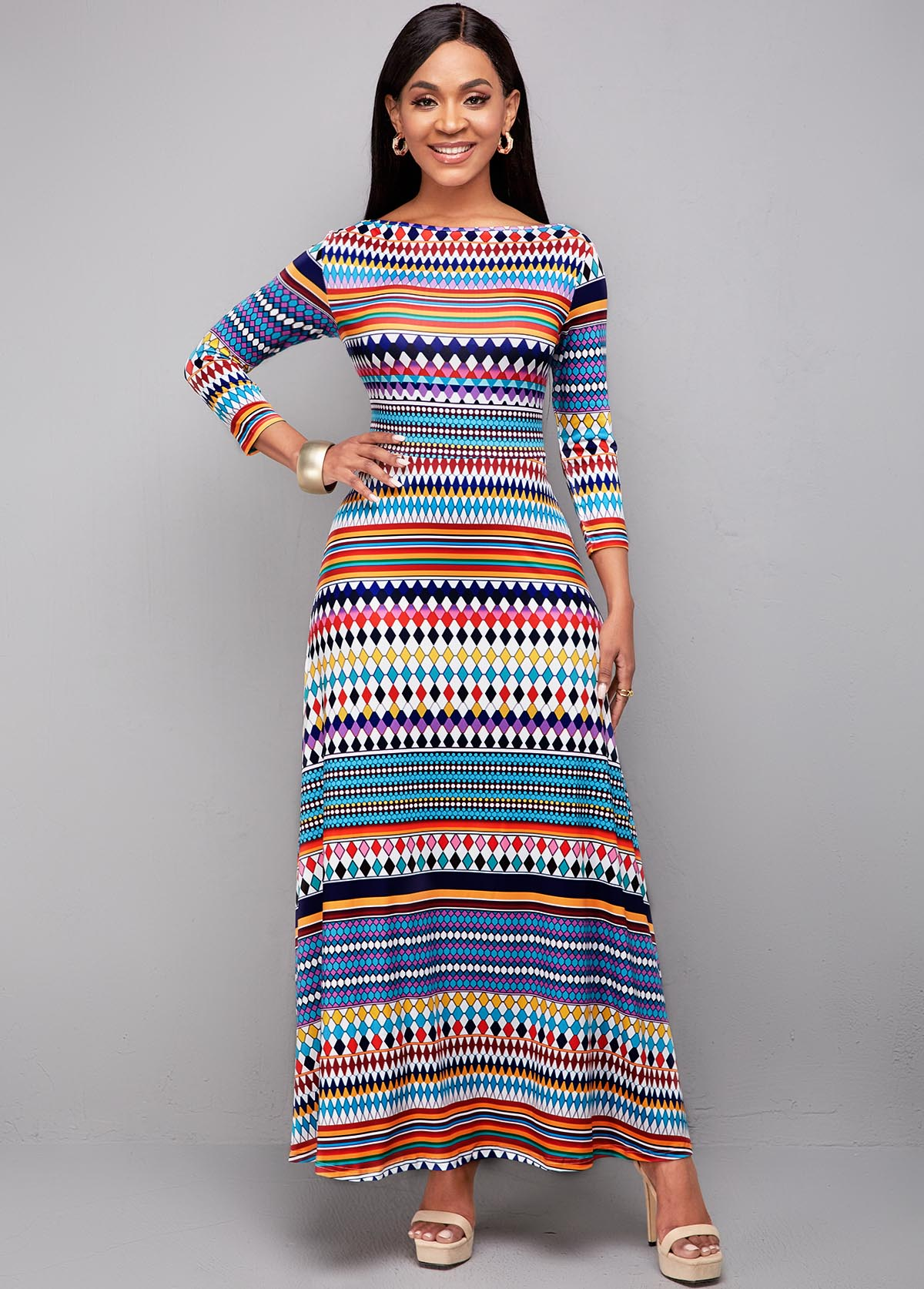 Bohemian Print Long Sleeve High Waist Dress