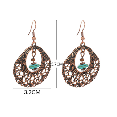 Metal Oval Shape Turquoise Pendant Earring Set