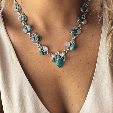 Metal Turquoise Boho Flower Necklace