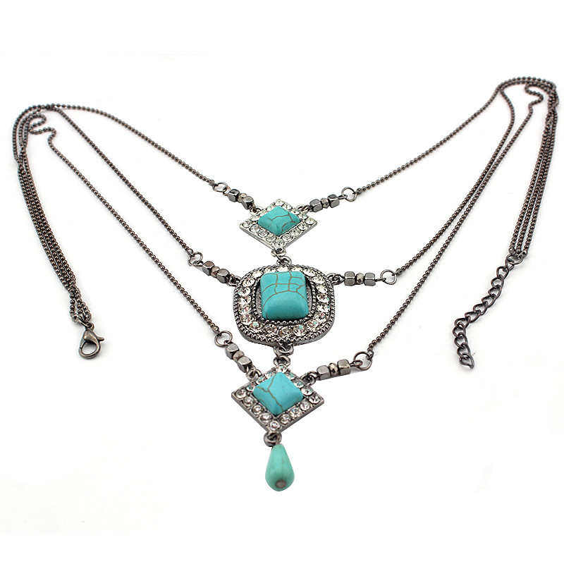 Layered Square Turquoise Pendant Water Drop Tribal Necklace