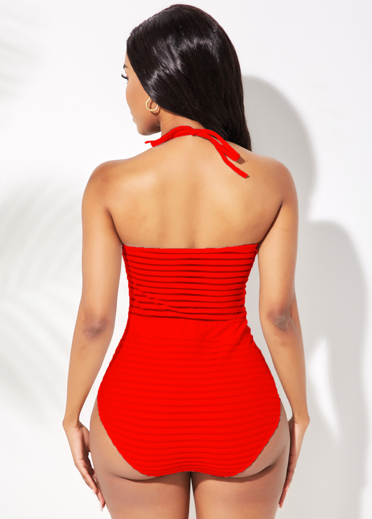 Red Halter Ladder Cutout One Piece Swimwear