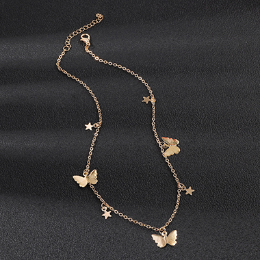 Butterfly Detail Gold Metal Necklace