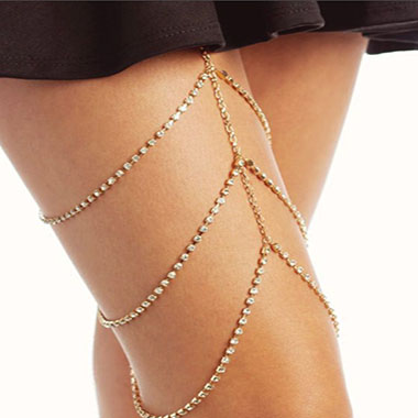 Gold Metal Layered Rhinestone Detail Body Chain