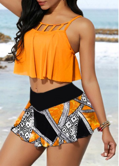 Women'S Orange Two Piece High Waisted Strappy Swimsuit Yellow Floral Printed Two Piece Padded Wire Free Cage Neck Bathing Suit By Rosewe - L
