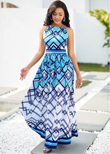 Asymmetric Neck Geometric Print Sleeveless Dress