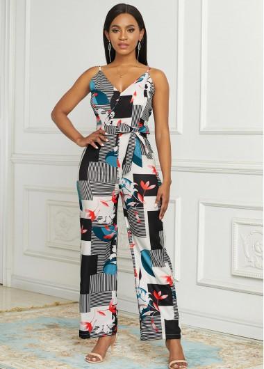 Rosewe coupon: Rosewe Wide Leg Geometric Print Spaghetti Strap Jumpsuit - S