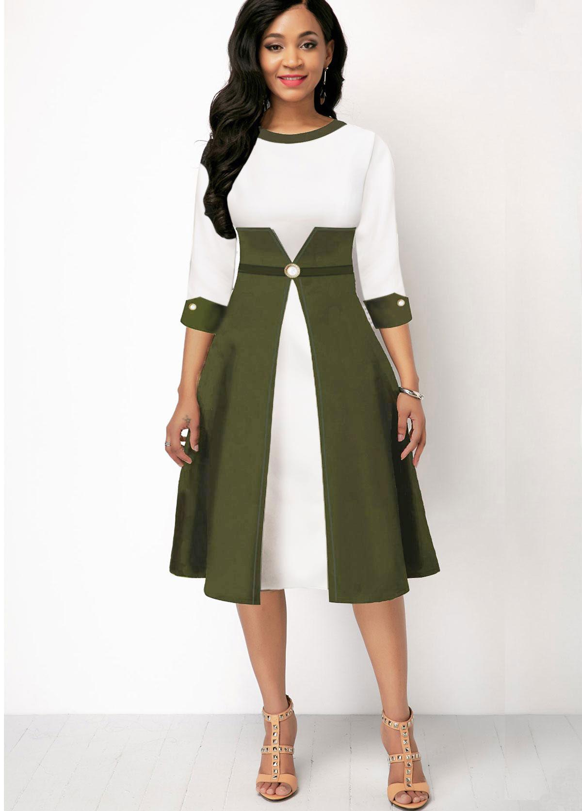 Color Block Three Quarter Sleeve Dress