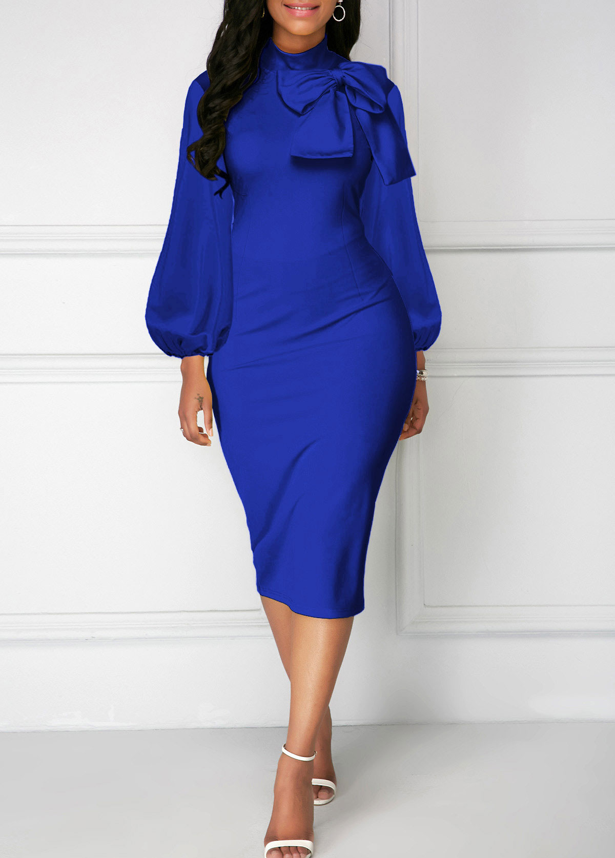 Bowknot Neck Royal Blue Lantern Sleeve Sheath Dress