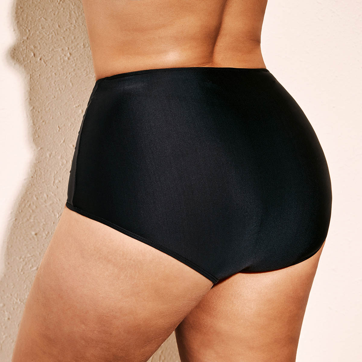 Black High Waist Plus Size Swimwear Shorts