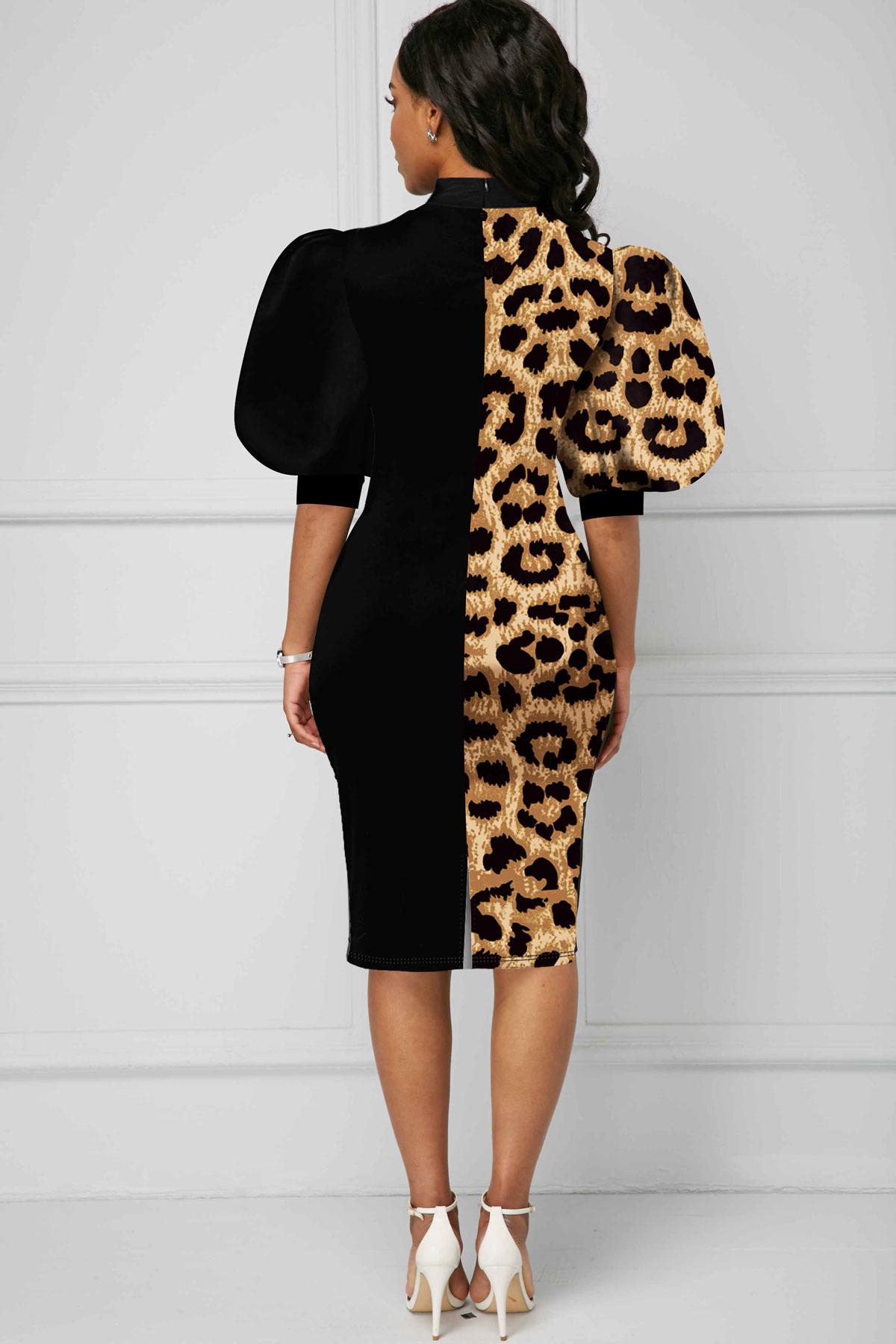 Leopard Bowknot Puff Sleeve Color Block Dress