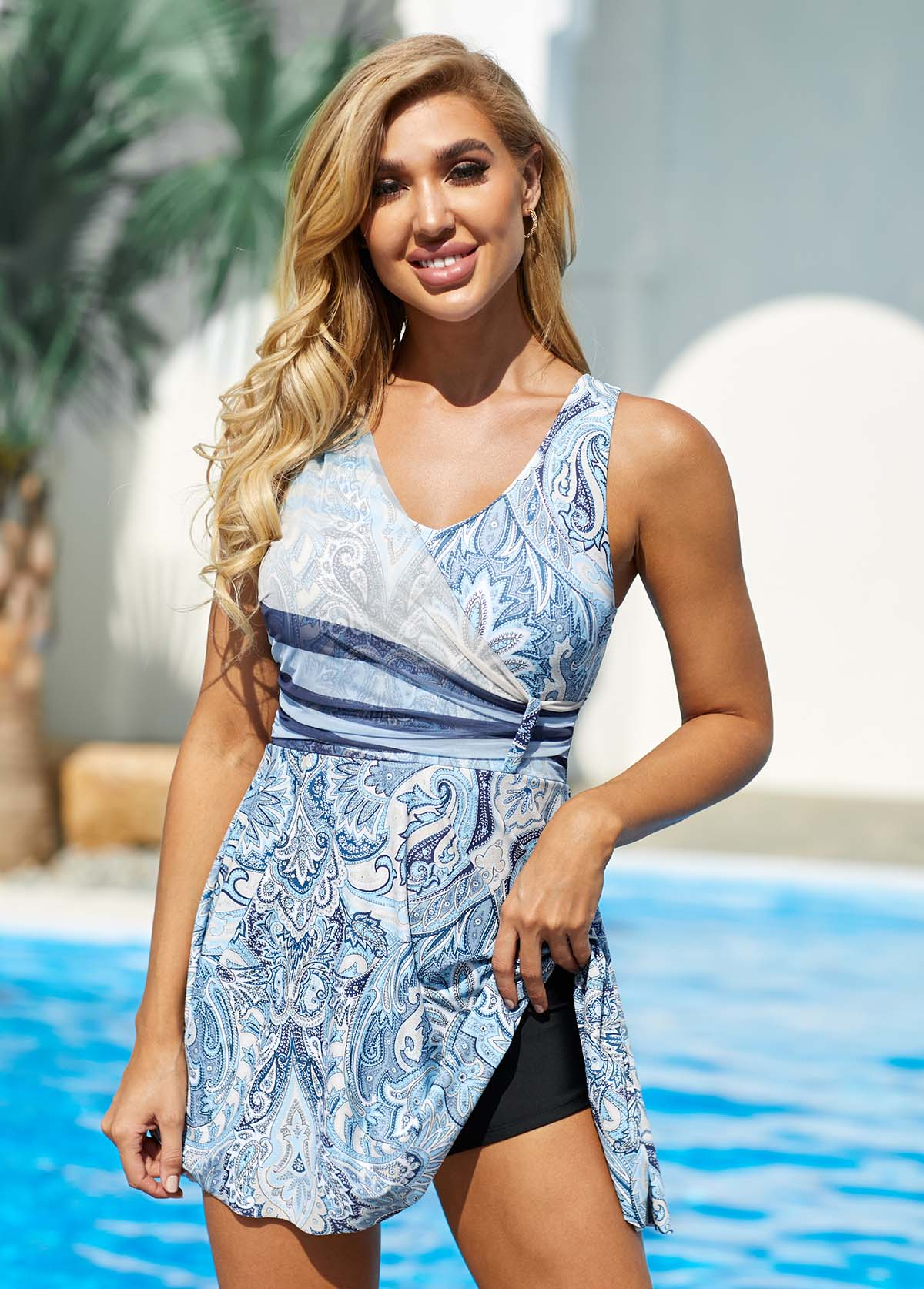 Tribal Print Wide Strap Swimdress and Shorts