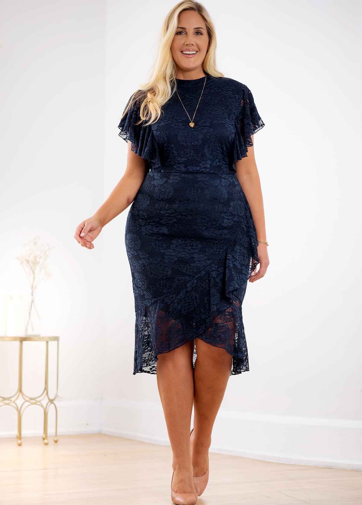 Asymmetric Hem Plus Size Lace Dress
