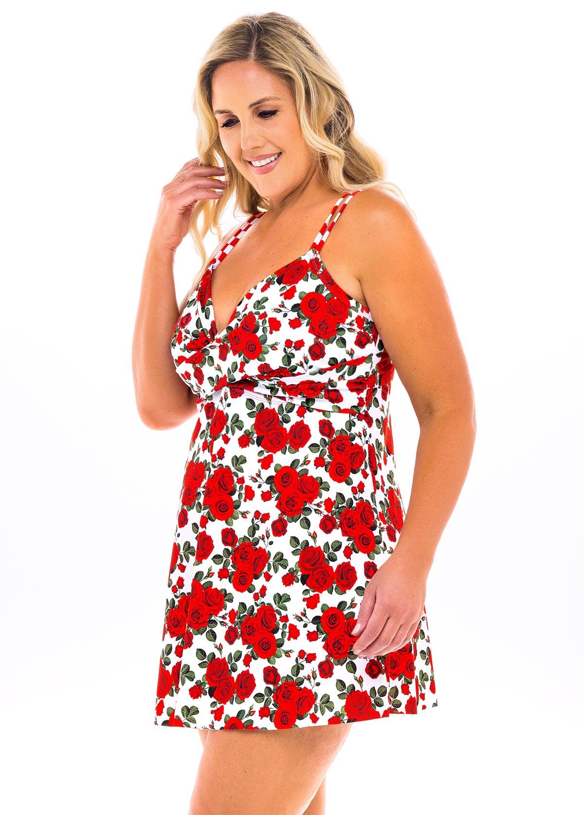 Spaghetti Strap Plus Size Floral Print Swimdress and Panty