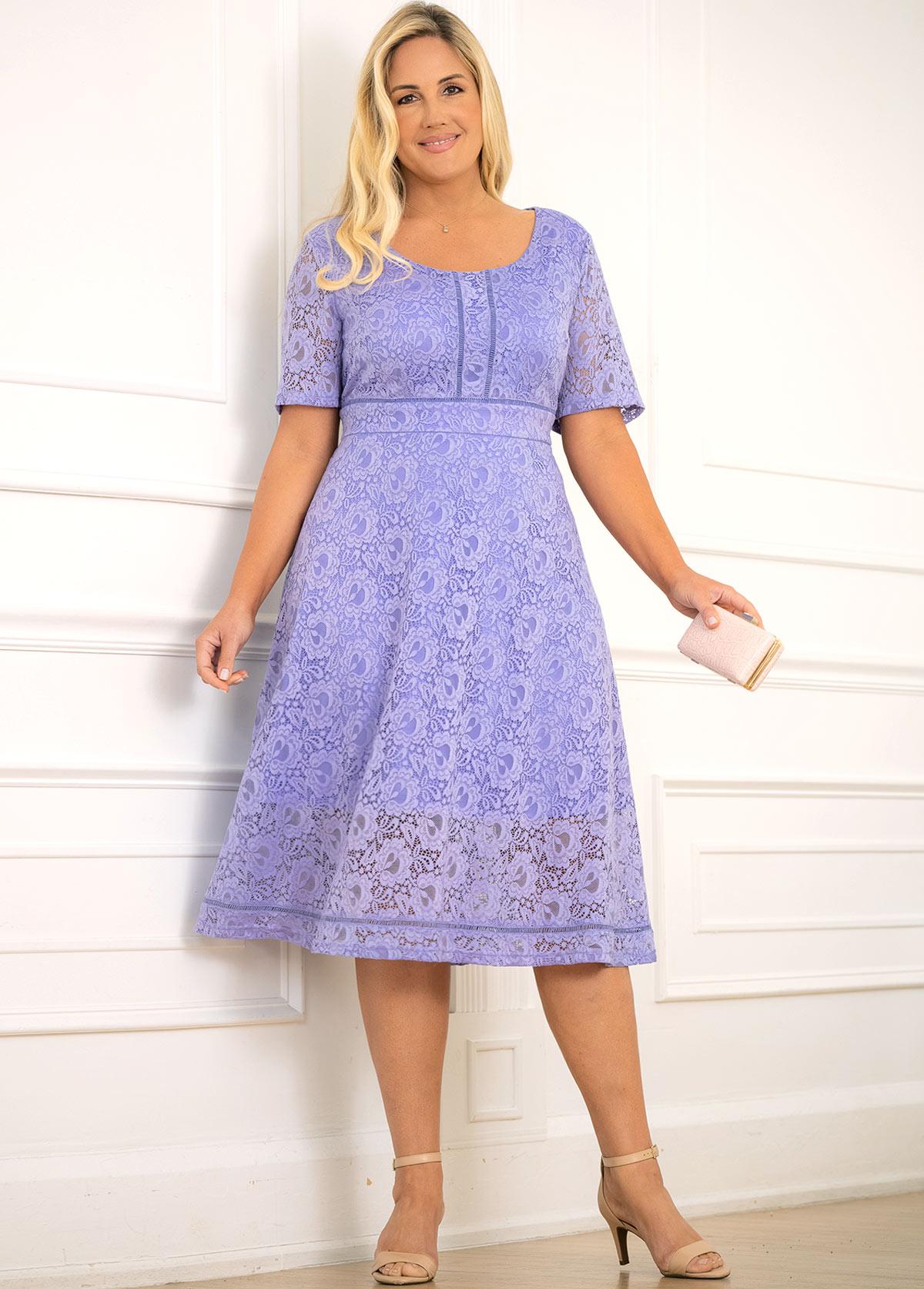 Round Neck Plus Size Lace Dress