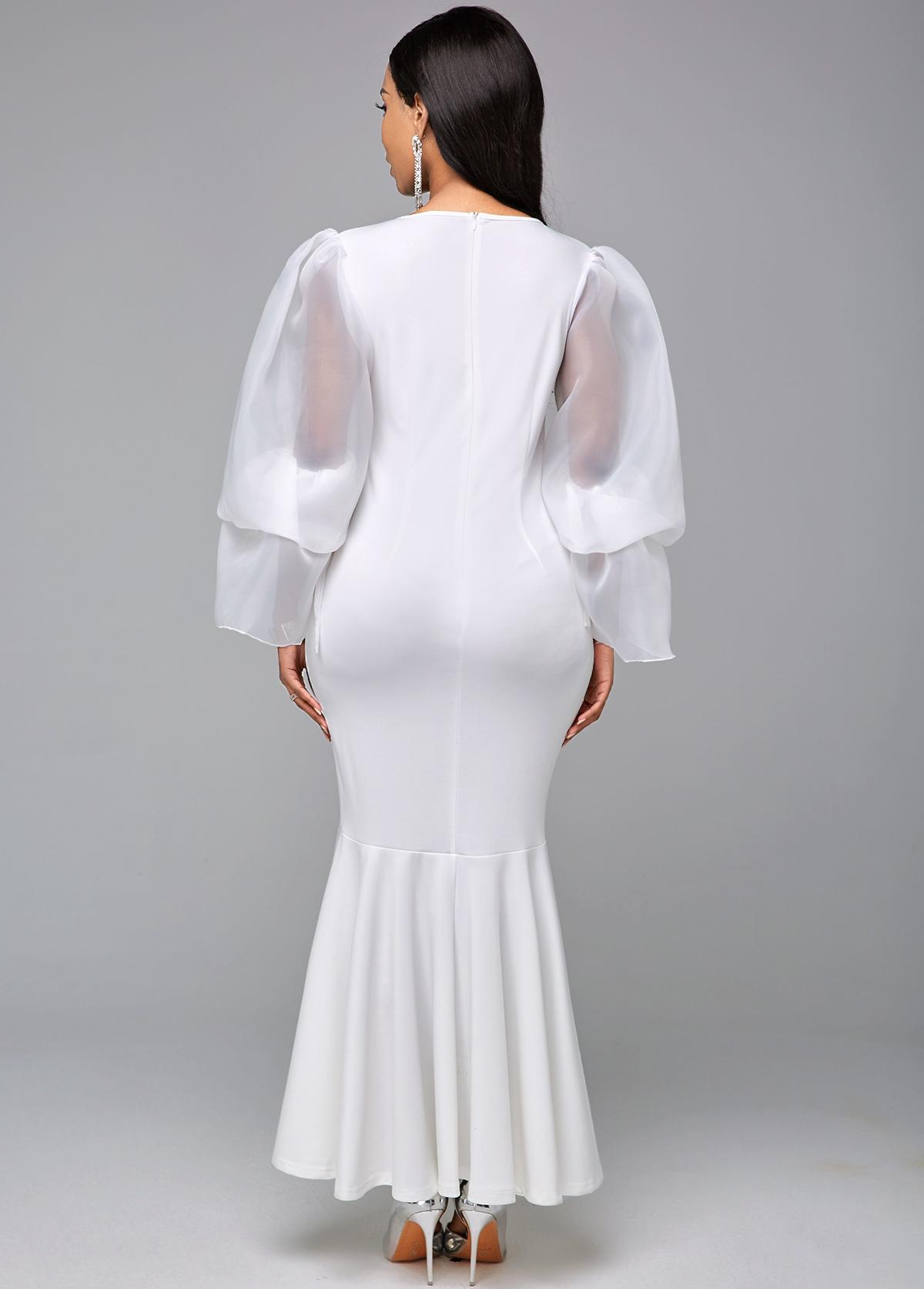 Long Sleeve White Round Neck Mermaid Dress