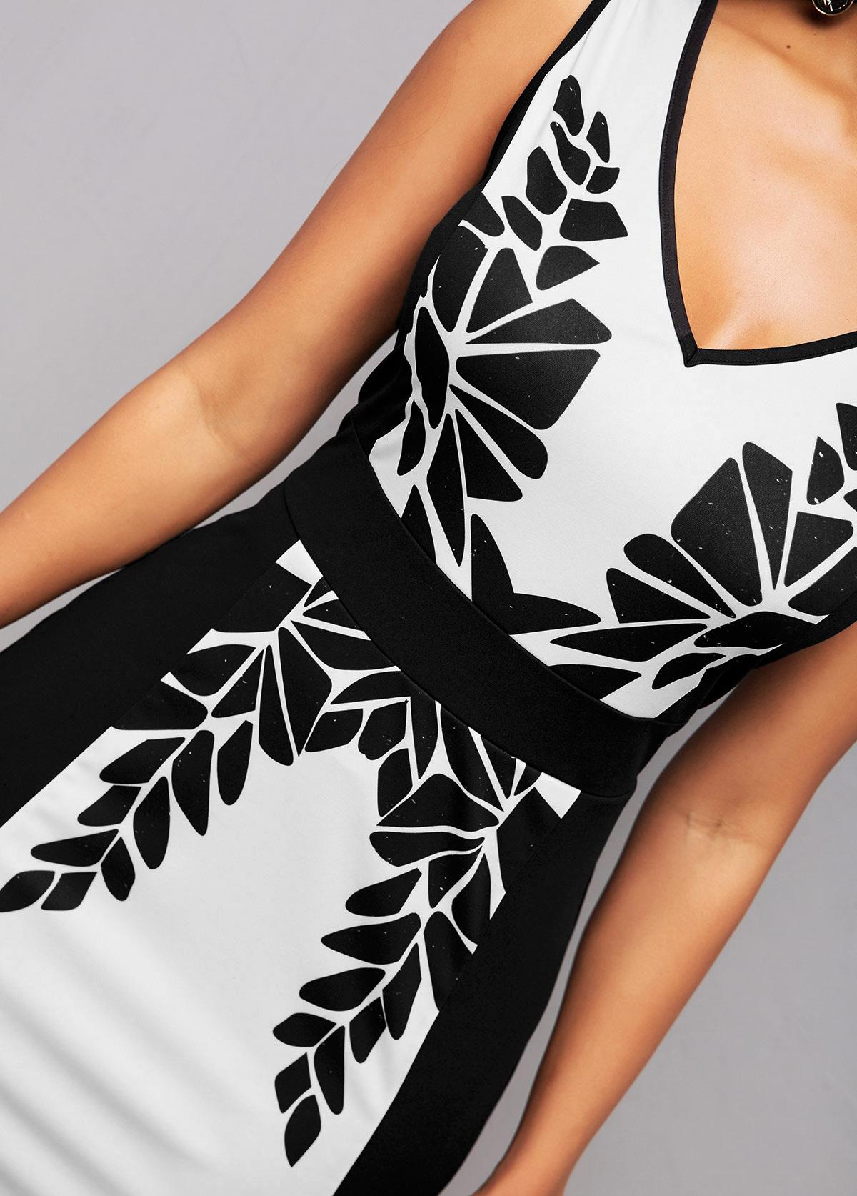 Color Block Printed Sleeveless Bodycon Dress