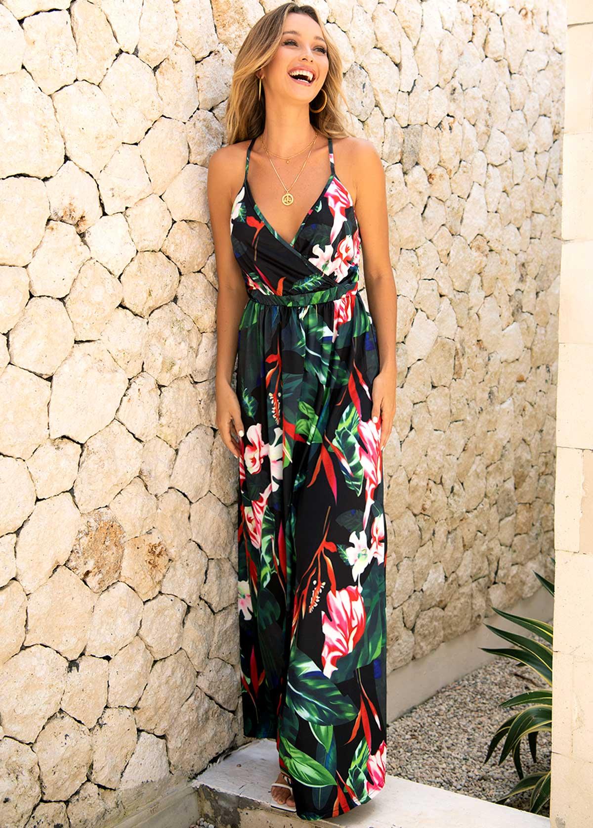 Floral Print Criss Cross Back Maxi Dress
