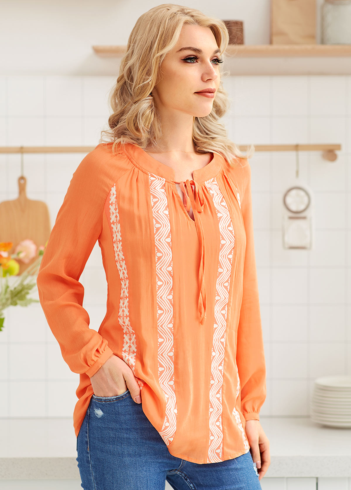 Long Sleeve Printed Tie Front Blouse