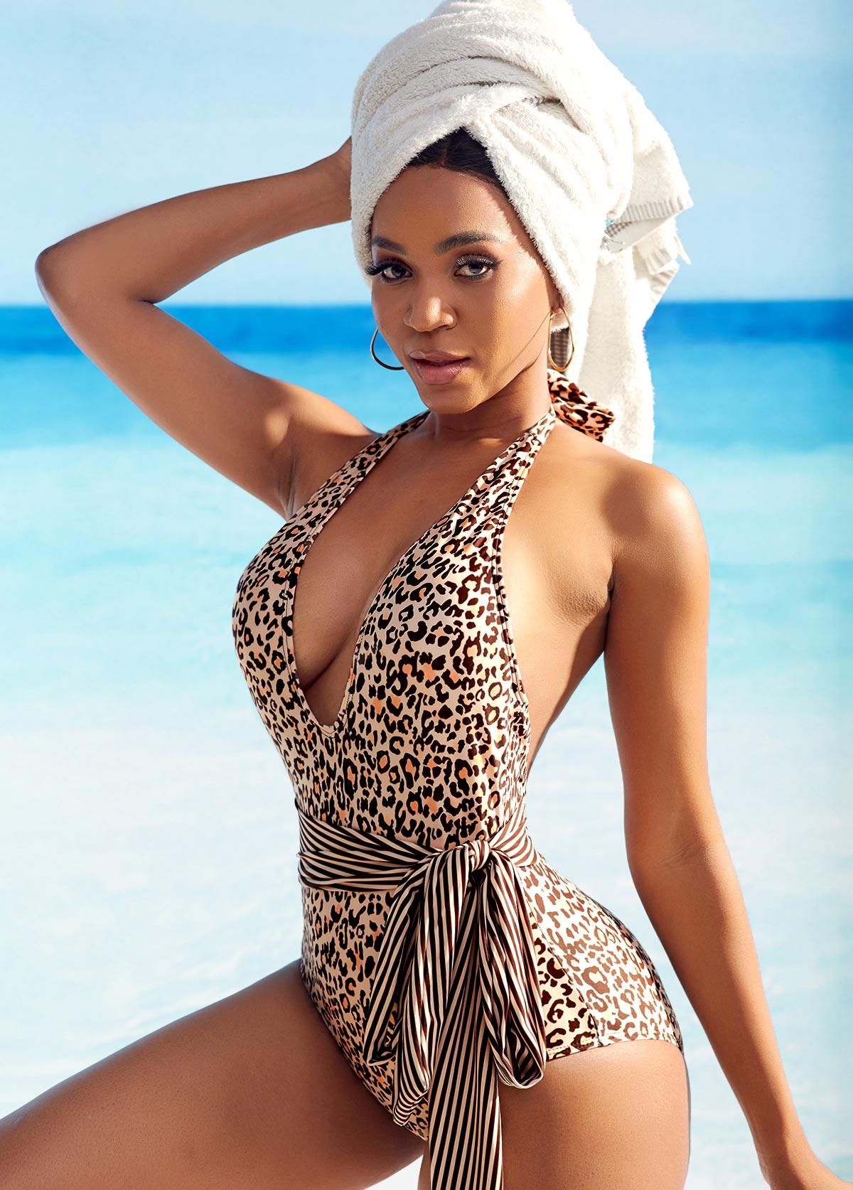 Belted Leopard Print Halter One Piece Swimwear