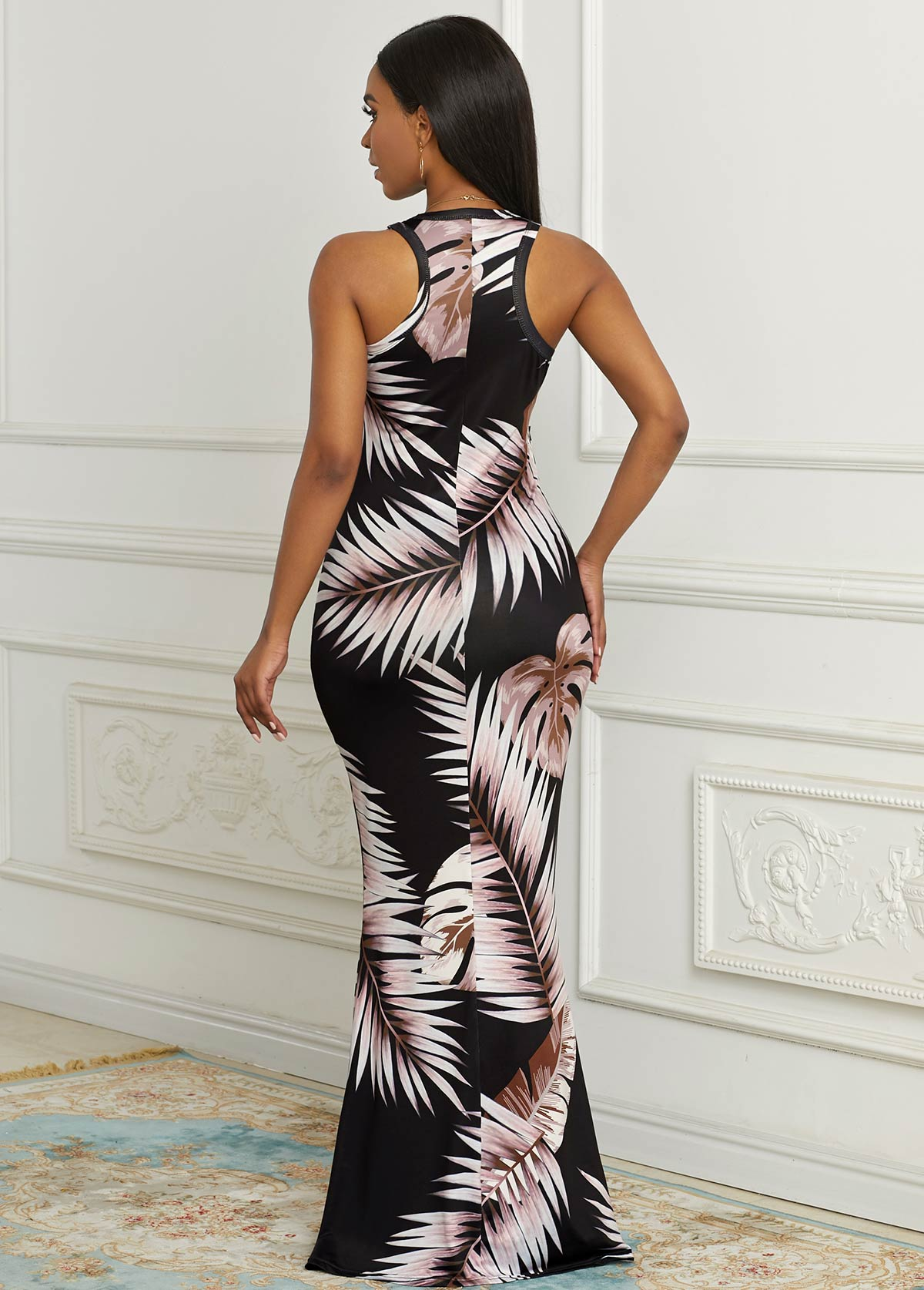 Sleeveless Palm Leaf Print Round Neck Dress