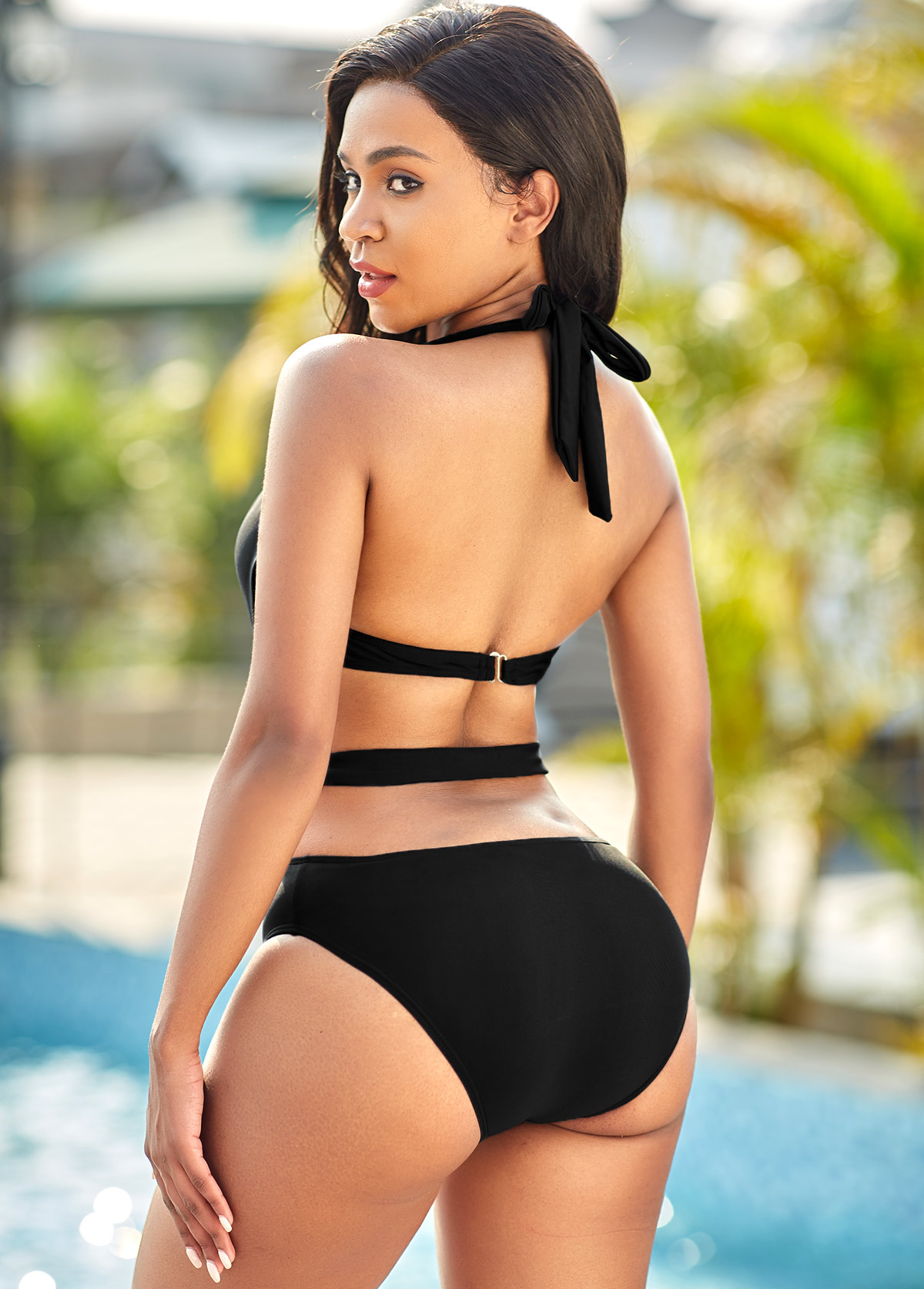 Halter Cutout Detail One Piece Swimwear