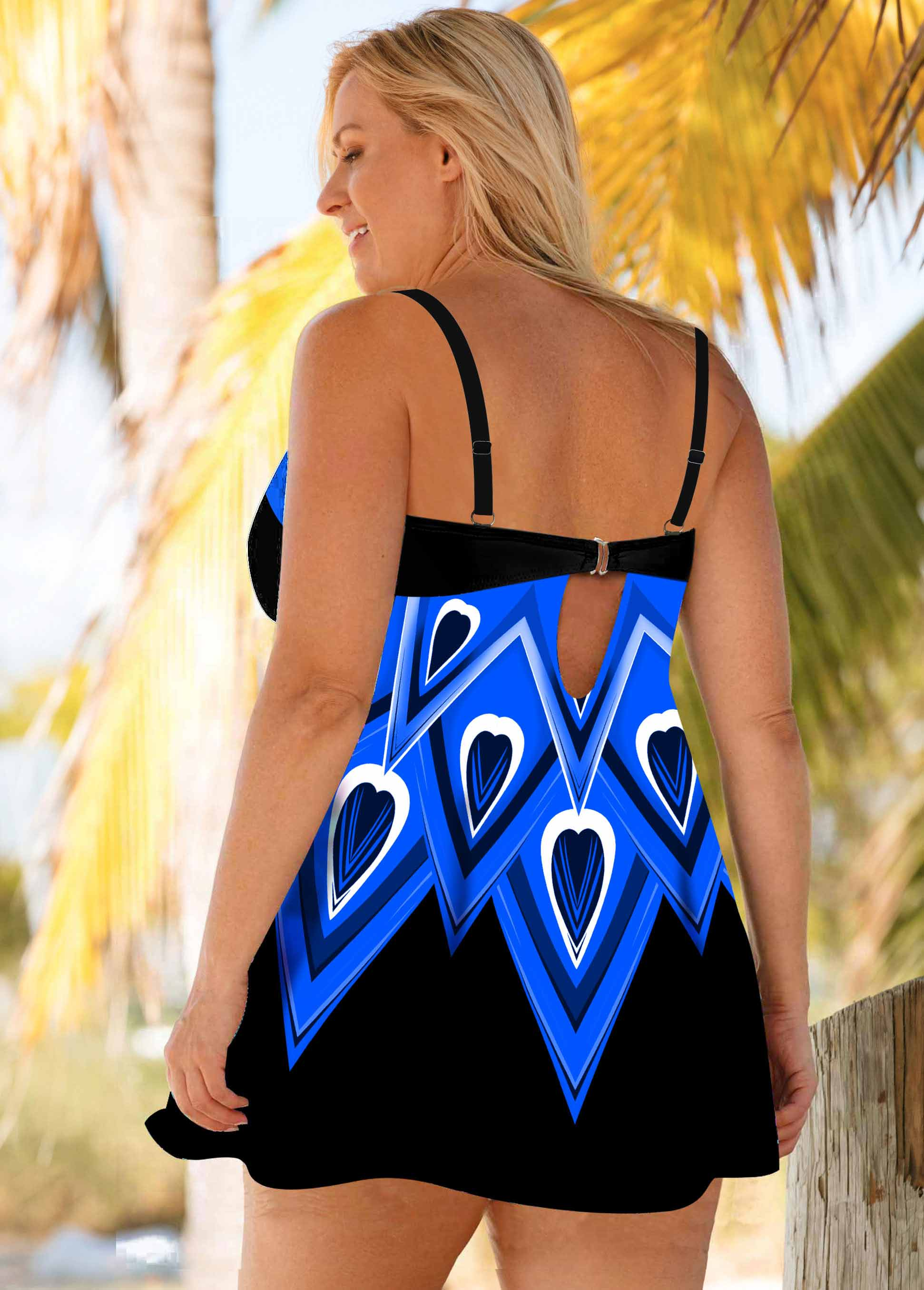 Blue Printed Plus Size Swimdress and Shorts