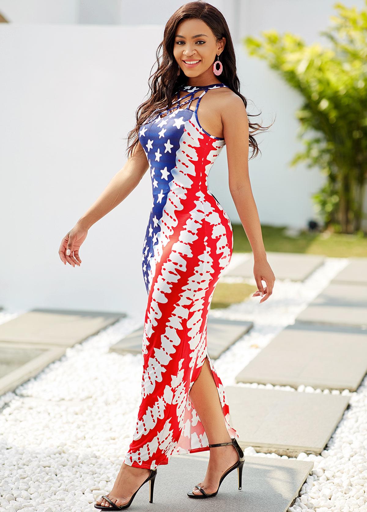 American Flag Print Lattice Neck Maxi Dress