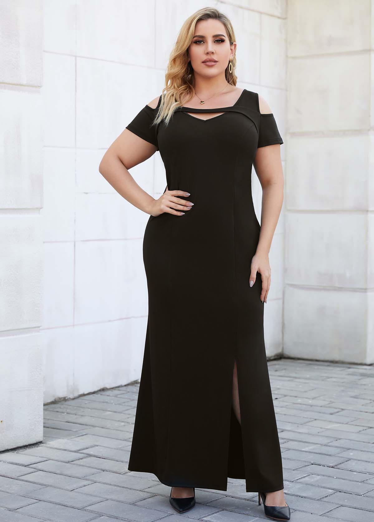 Cold Shoulder Side Slit Plus Size Pierced Black Dress