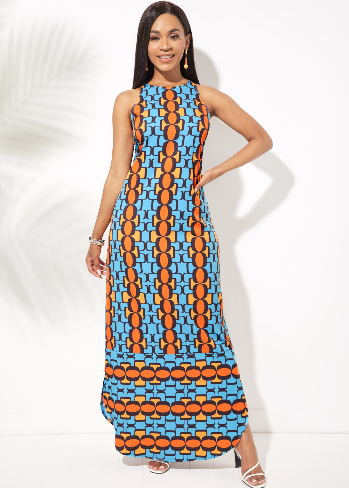 Side Slit Geometric Print Round Neck Dress